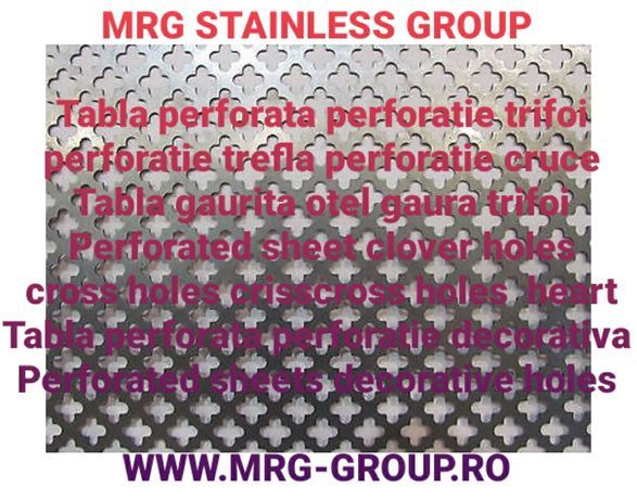Tabla perforata otel trifoi 1x1000x2000mm aluminiu inox alama cupru