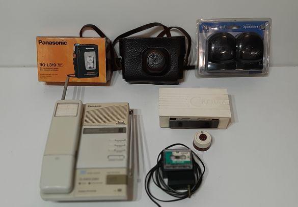 !!!Телефон и Диктофон-Panasonic,Фотоапарат Зоркий 4; Тонколонки;Звънец