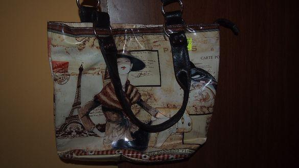 Нова бежова чанта с принт + подарък чанта Орифлейм