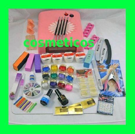 Kit set unghii false - lampa UV,pile,tipsuri - 4 gel ccn + 12 colorate