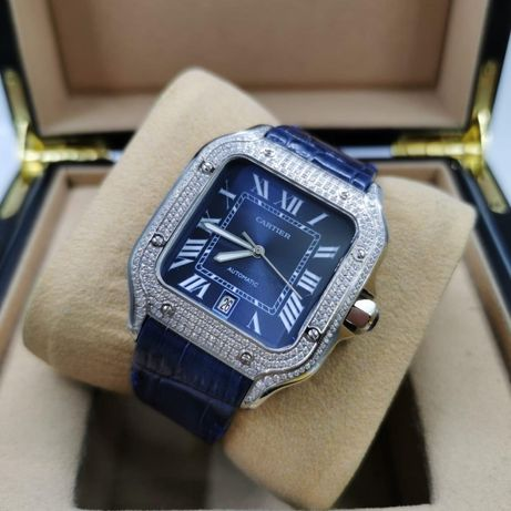 Cartier Santos 100 Full Diamond Blue