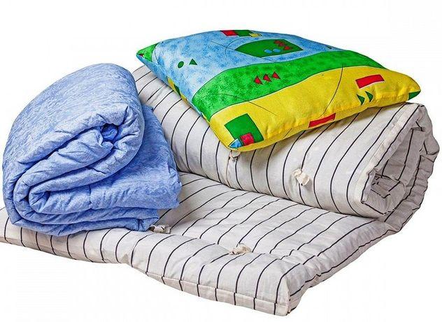 Рабочий комплект - матрас ватный, подушка, одеял, матрас строительный