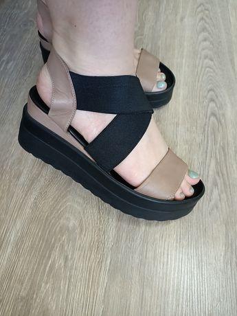 Кожаные Женские сандали босоножки