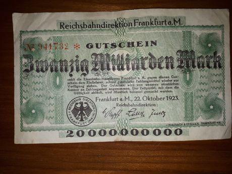 "Bancnota ""20 MILIARDE ""!! marci germane , unifata!"