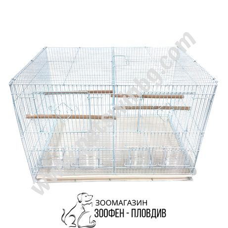 Воалиера за Птици с Преграда - 60/42/41см - с 4 Хранилки и 4 Кацалки