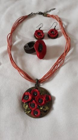 Bijuterii lucrate manual,  hand made, set colier cercei inel