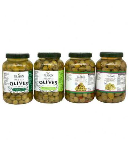 Гръцки зелени маслини Elaíon с чушка, без костилка и с бадем 1кг.