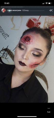 Грим аквагрим хеллоуин helloween макияж makeup визаж мейкап