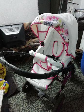 Бебешка количка ARMEL 3в1; цвят: бял/розови цветя
