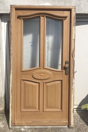 Usa casa firma intrare lemn geam vitraliu termopan H 210 x L 110.