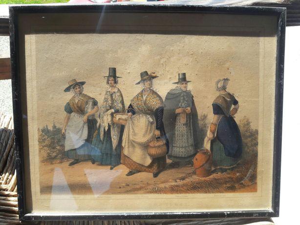 Tablou litogragie - costume din regiunea Welsh Tara Galilor