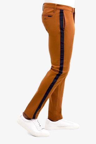 Pantaloni barbati US Polo Assn, maro cu dunga neagra