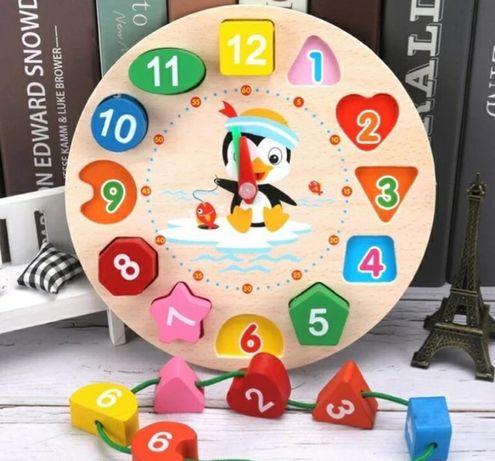 Joc Montessori ceas, cuburi,puzzle