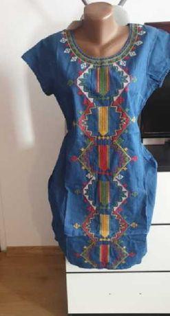 rochie marime M -L si L - XL bumbac bleu - imitatie blug