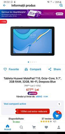 Tabletă nouă Huawei MatePad T10 Deepsea Blue