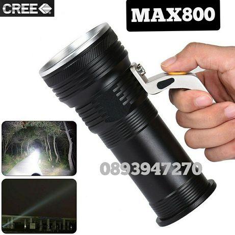 Мощен LED фенер с 1 CREE XM-L T6 + лупа и зуум и 2 и 3бр. акум. бат.