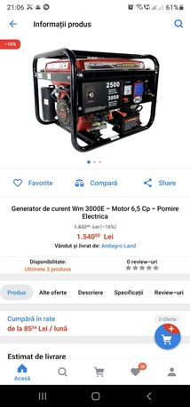 Generator curent Wm 3000E - Motor 6,5 Cp - Pornire Electrica
