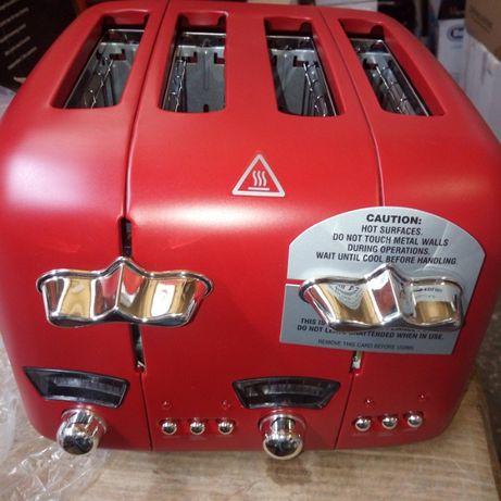 Тостер за 4 филии DeLonghi Argento CT04RD / 1600W / червен