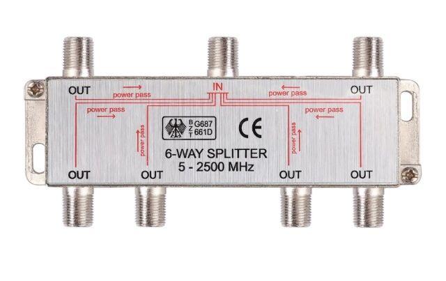 Spliter satelit 6 cai 5-2450MHz power pass Splitter satelit 2450MHz