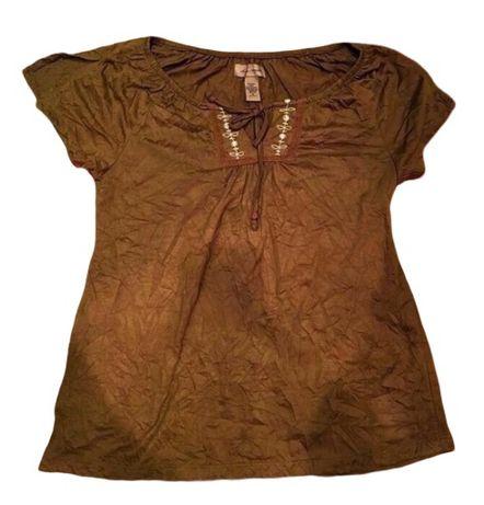 Tricou Bluza piele intoarsa USA maro superba stil H&M