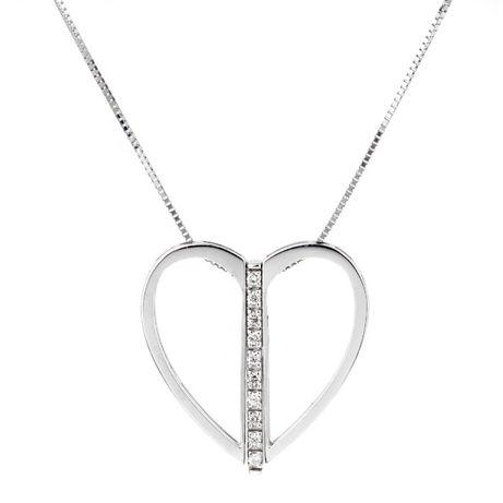 Lanț și pandantiv aur alb 750-18k cu 5 diamante 0,03k BLISS