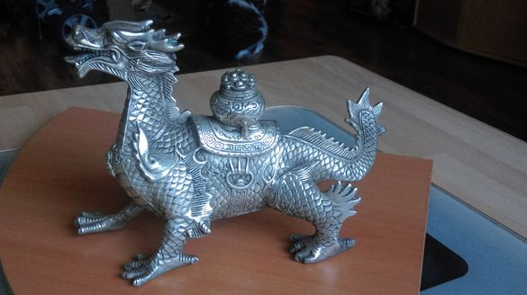 Статуетка на Китайски дракон от Тибетско сребро 1,215 кг