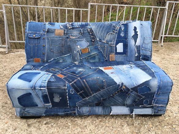 Дънково кресло с кръпки / Двуместен дънков диван