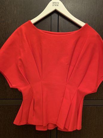 Блузка, кофта, красный топ, с баской , в стиле Диор. Размер 40/44