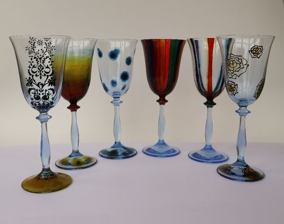 комплект чаши, барокови, ръчно рисувани.