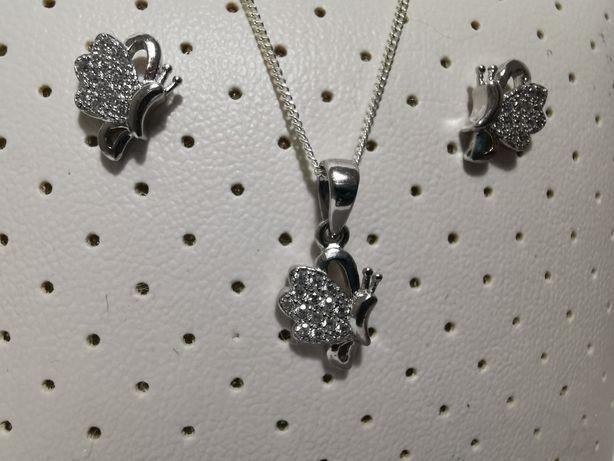 Set argint model Fluture - lant, pandantiv si cercei - bijuterii dama