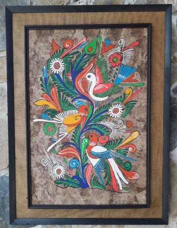 Pictură mexicană tradiţională cu păsări - deosebită