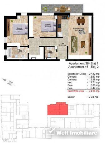 Apartament 3 camere, 75 mp plus balcon, imobil nou in zona centrala