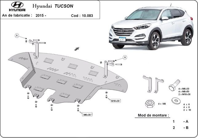 Scut motor metalic pentru Hyundai Tucson 2004-prezent - otel 2-3mm