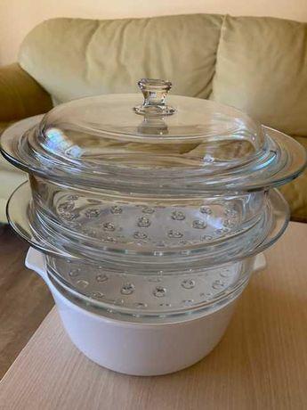 Sistem de gatit la aburi, pe verticala, 4 piese, sticla si ceramica