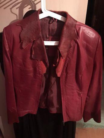 Jacheta piele naturala cu guler din ponei