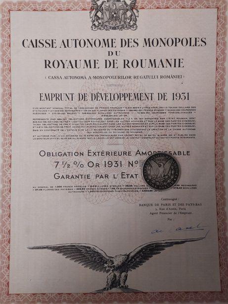 1000 Franci Aur 1931 Titlu de Stat obligatiune neincasata cu cupoane