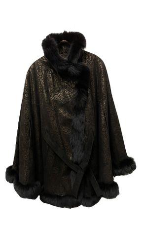 Пальто пончо женское кожа замша с мехом