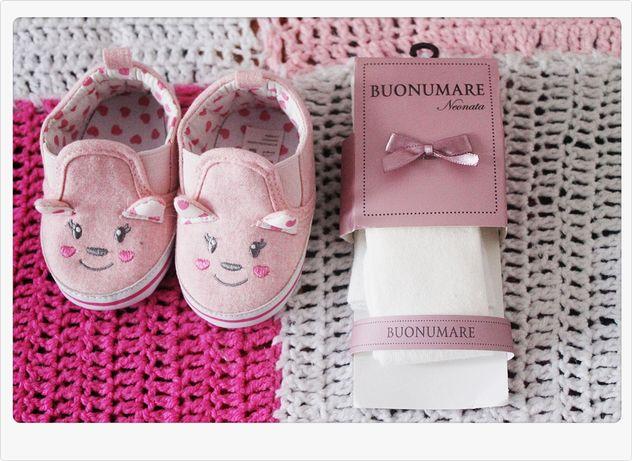 Papucei roz pentru fetite 6-12 luni cu pisici si ciorapei albi