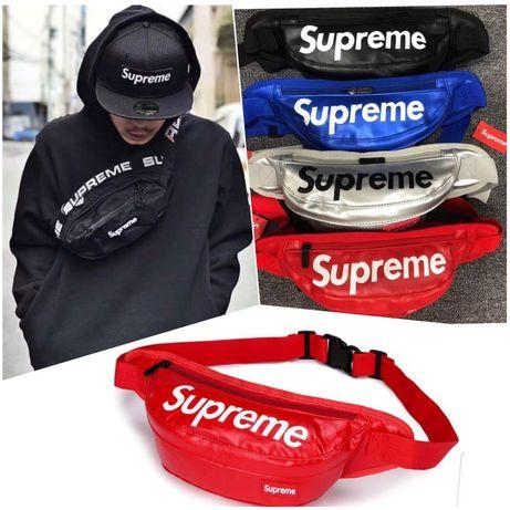 Supreme кожена Чанта за през рамо или кръст с 2 отделни джоба