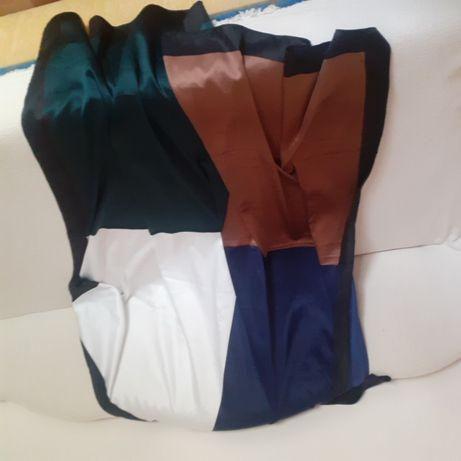 Зара голям дамски шал кафяв бежов зелен бял син цвят нов