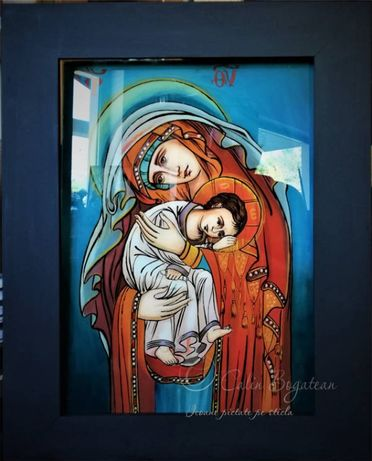 Maica Domnului ocrotitoarea celor orfani icoană pictată pe sticlă