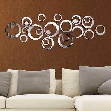 24buc / set 3D DIY cercuri autocolant de perete decor pentru casă ogli