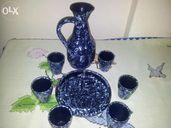 Сервиз за ракия от глина в синьо мн. красив