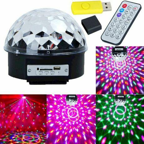 Glob disco LED RGB,USB,joc rotativ de lumini,telecomanda stick inclus