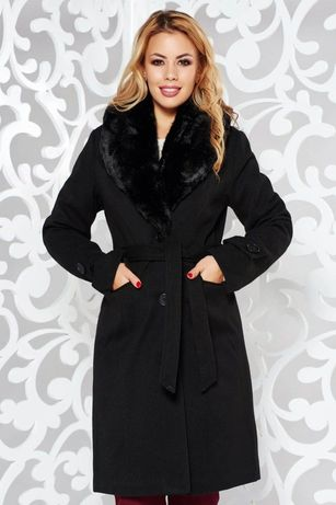 Palton iarna negru cu blanita