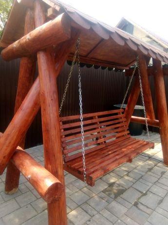 Leagan (balansoar) rustic de gradina din lemn masiv