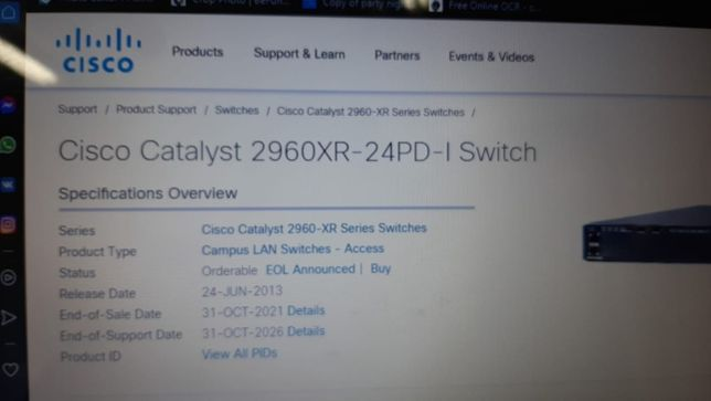 Продается Cisco Catalyst 2960XR-24PD-I Switch