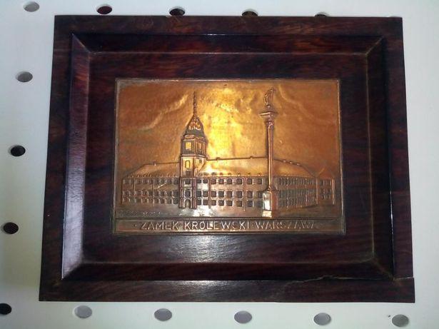Tablou placheta cupru pe rama lemn tec - tablou vechi