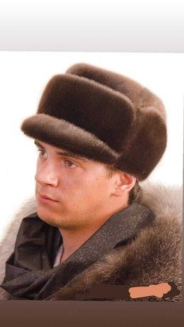 Мужская натуральная норковая шапка.