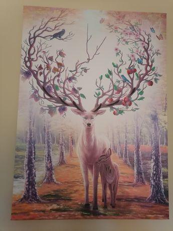 Продавам нови два броя нови картини на платно с елени дървото на живот